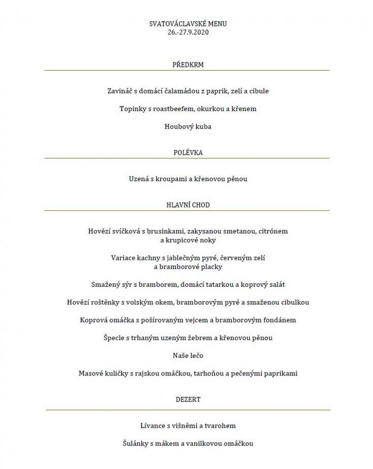 Tradiční Svatováclavské menu 26.-27.9.